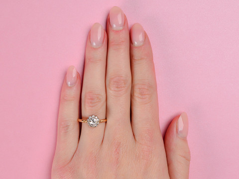 Vintage English Diamond Halo Engagement Ring