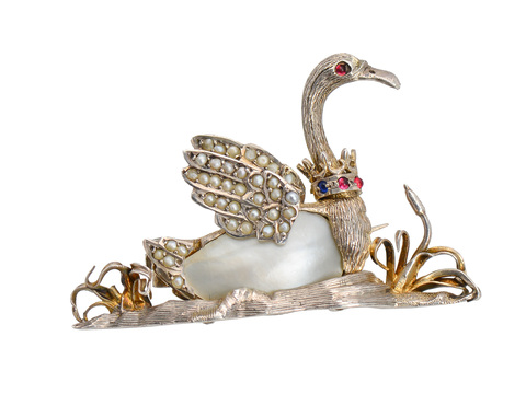 Swan Lake - Antique Bird Brooch with Crown