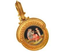 Antique Fontenay Gold Miniature Portrait Locket