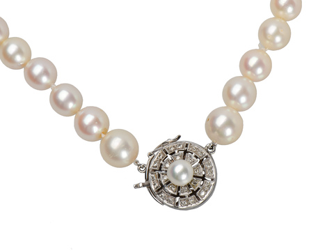 Estate Cultured Pearl Necklace Diamond Clasp