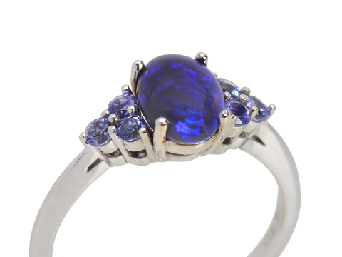 Vintage Black Opal Tanzanite Ring