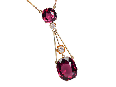 Splendour - Almandine Garnet Diamond Antique Pendant