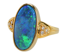 Peacock's Pride - Black Opal Diamond Ring