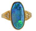 Peacock's Pride - Black Opal Diamond Ring