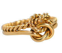 Edwardian Love Knot Motif Gold Ring of 1894