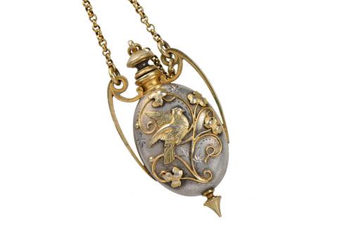 Art Nouveau Silver Vermeil Bird Perfume