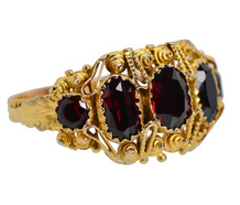 Georgian Five Stone Garnet Antique Ring