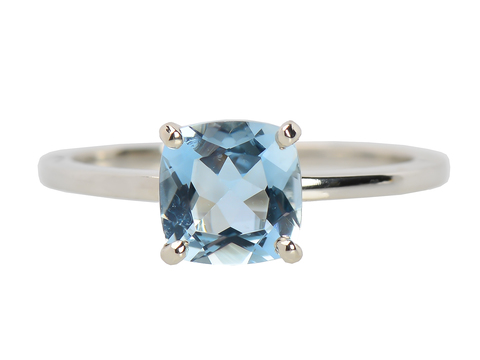Aquamarine Dream - Solitaire Cushion Cut Ring