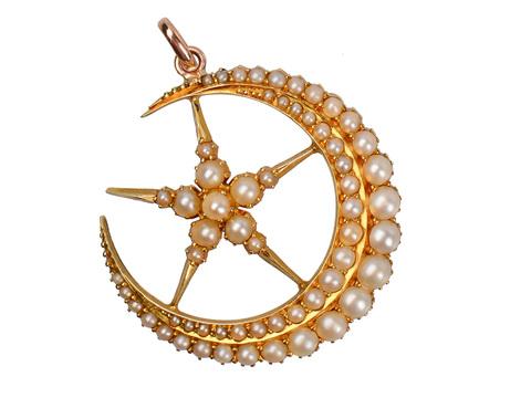 Natural Pearl Crescent Moon & Star Pendant
