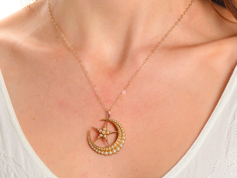Natural Pearl Crescent Moon & Star Pendant