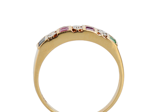 Vintage Emerald, Sapphire Ruby Diamond Ring