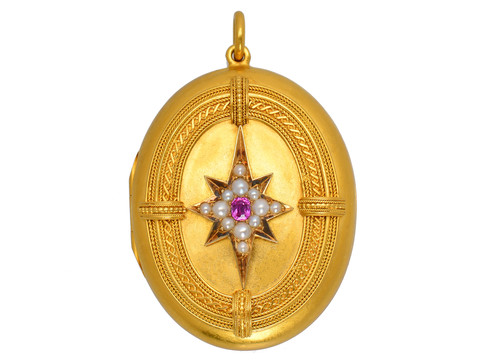 Victorian Dated 1875 Ruby Pearl Star Locket