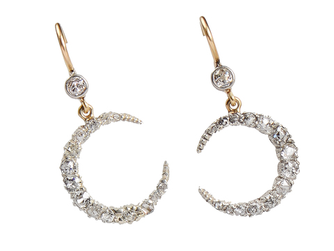 Moonbeams - Edwardian Diamond Crescent Earrings