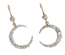 Moonbeams - Edwardian Diamond Crescent Earrings