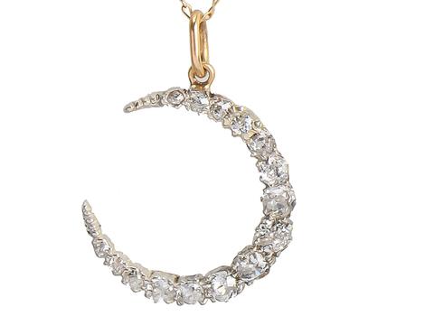 Diamond Crescent Moon Pendant & Chain