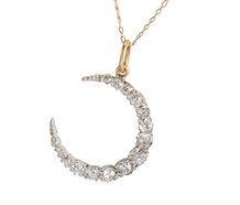 Diamond Crescent Moon Pendant & Chain