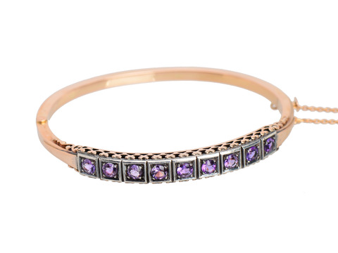 Antique Amethyst Hinged Oval Bangle
