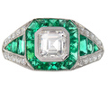 Asscher Cut Diamond Emerald Engagement Ring