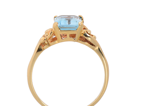 Vintage Vision - Aquamarine Flower Motif Ring