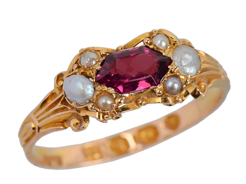 English Almandine Garnet Pearl Ring of 1868