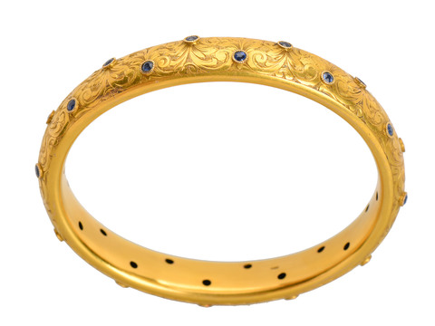 Art Nouveau Sapphire Gold Bangle Bracelet