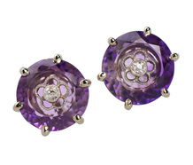 Antique Amethyst Diamond Stud Earrings