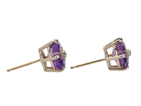 Vintage Amethyst Diamond Stud Earrings