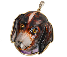A Dog's Life - Antique Enamel Pendant