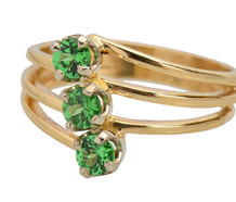 Vintage Tsavorite Green Garnet Three Stone Ring
