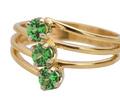 Vintage Tsavorite Green Garnet Three Stone Ring