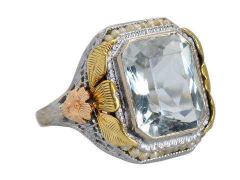 Flower Fest - Art Deco Aquamarine Pearl Ring
