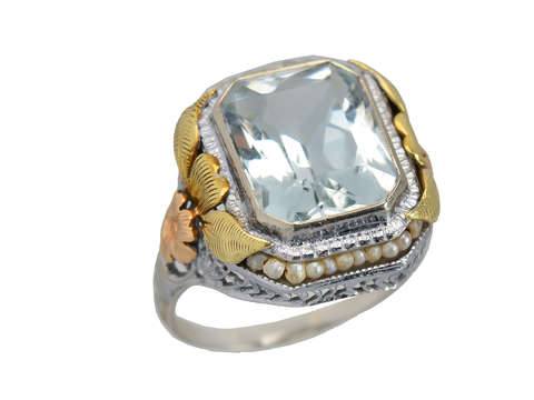 Flower Fest - Art Deco Aquamarine Pearl Ring