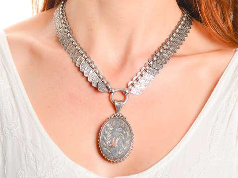 Victorian Silver Book Chain & Locket With Swallow Bird