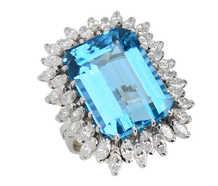 Over the Top - Extravagant Aquamarine Diamond Ring