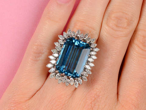 Over the Top - Extravagant Aquamarine Diamond Ring