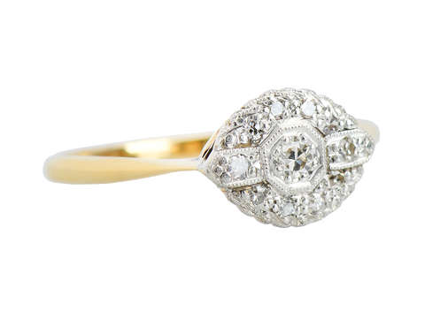 English Vintage Engagement Ring - East West Orientation