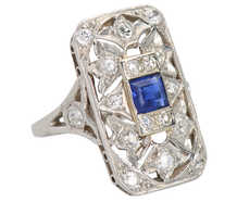Uniquely You - Art Deco Sapphire Diamond Ring