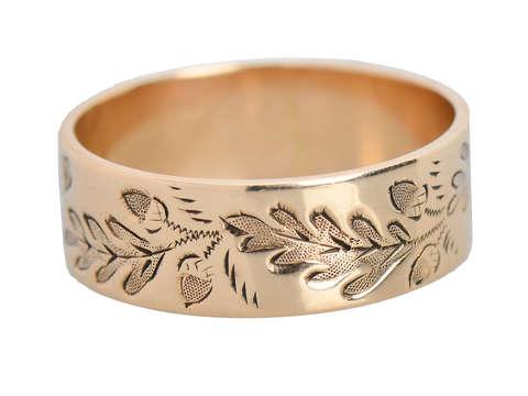Symbolic Acorn & Oak Leaf Victorian Wedding Band