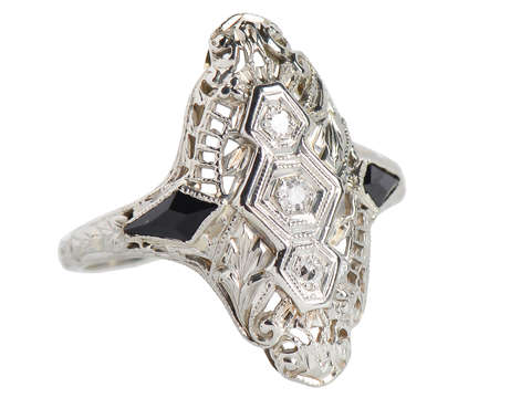 Art Deco - Onyx Diamond Filigree Ring
