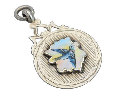 Silver Enamel Bird Pendant of 1931