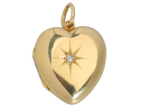 Antique Puffy Heart Locket with Diamond