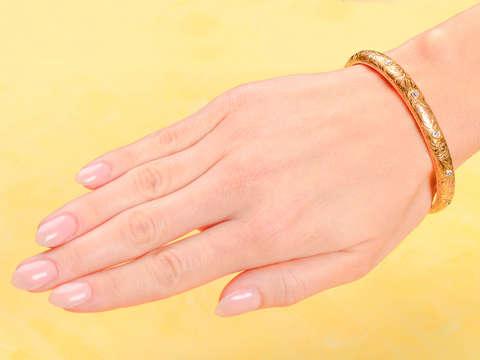 Antique Riker Diamond Flower Bangle Bracelet