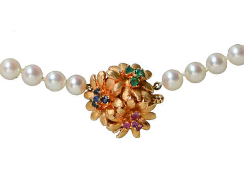 Vintage Cultured Pearls Gem Clasp Necklace