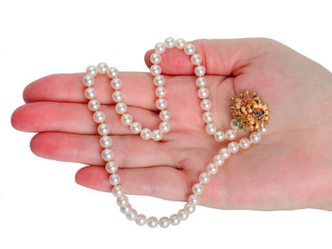 Vintage Cultured Pearls Gem Clasp