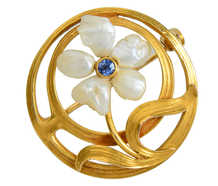 Art Nouveau Pearl Flower Brooch - Newark Maker