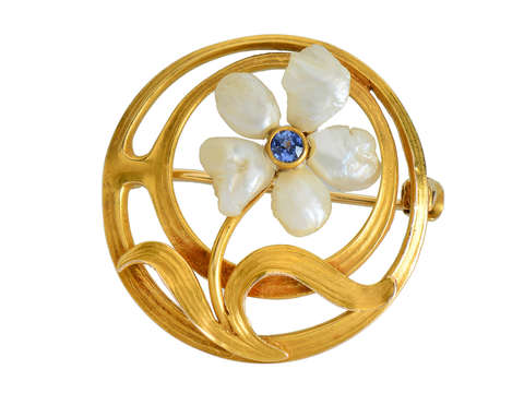 Art Nouveau Pearl Flower Brooch - Newark Maker
