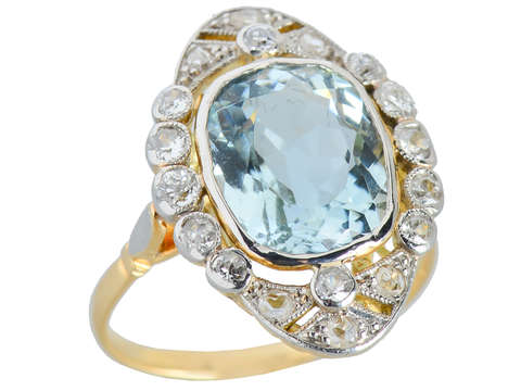 Edwardian Antique Aquamarine Diamond Ring
