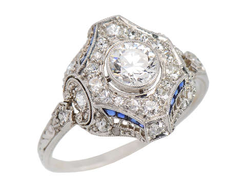 Edwardian Antique Diamond Sapphire Engagement Ring