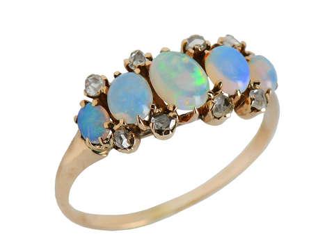 Antique Five Stone Opal Rose Cut Diamond Ring