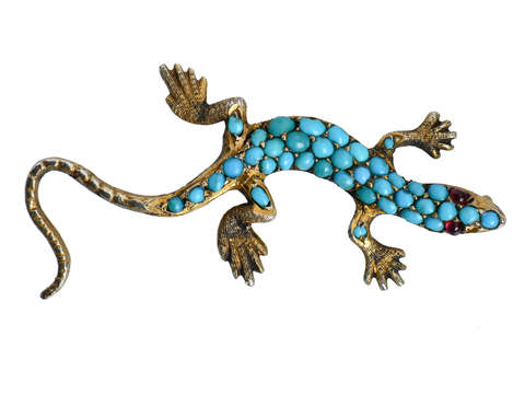 Victorian Pavé Turquoise Lizard Brooch Pendant